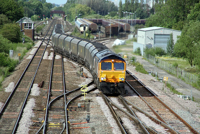 66715 1629/6H90 Tyne Dock-Drax approaches Monk Fryston from Milford Jct 19/06/12