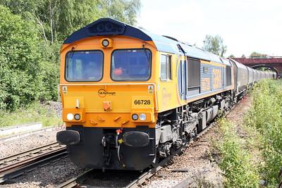 66728 1247/4N99 Drax-Tyne Dock passes Knottingley 19/06/12