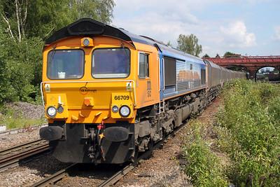 66709 1438/4N92 Drax-Tyne Dock passes Knottingley 19/06/12