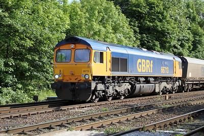 66713 1717/ ? Drax-Tyne Dock passes Hillam Gates crossing 19/06/12