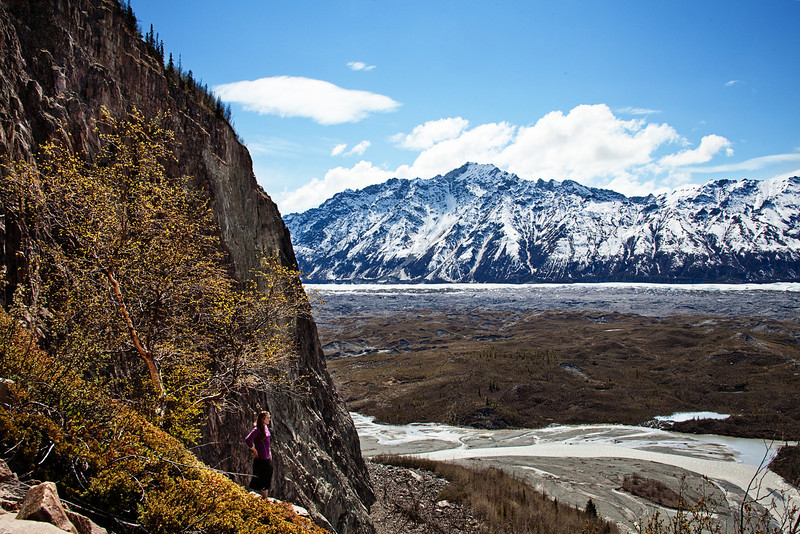 Tracy stands overlooking the Matanuska Glacier from the shoulder of Lion's Head.