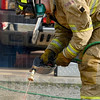 Tribune-Star/Joseph C. Garza<br /> He made the cut: Honey Creek Fire Department firefighter Jonathan Wright uses an Oxylance Sure Cut System to demonstrate its capability Thursday at the Station 91.