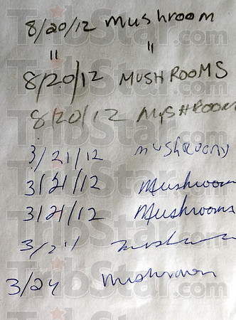 Tribune-Star/Jim Avelis<br /> Popular past-time: A log in sheet shows mushroom hunting to be the main pursuit this spring in the Fairbanks FWA. The State of Indiana recently purchased nearly 5.5 square miles of land in Sullivan County from Indiana Michigan Power.