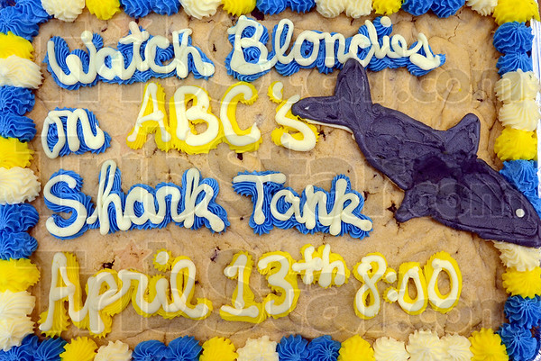 Tribune-Star/Jim Avelis<br /> Biting comment: A cookie from Blondie's in the Honey Creek Mall advertises the upcoming episode where the sweets shop will featured.