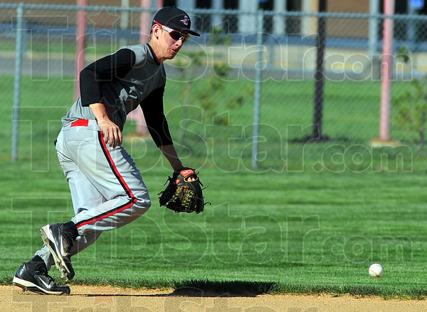 Tribune-Star/Jim Avelis<br /> Back for more: Terre Haute South shortstop Daniel Marlow is back for another year with Kyle Kraemer's baseball team.