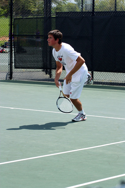 Matthew Parker during Sunday's Tennis match against SC State