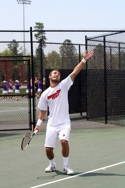 Joao Poli during Sunday's Tennis match against SC State
