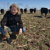 "Tribune-Star/Joseph C. Garza<br /> Food for the spring: Nikki Royer checks the rye grass for the spring pasture at her family's farm near Clinton Friday. Royer and her husband, Scott, are writing a ""For Dummies"" book on raising beef cattle and describe how to use a pasture to provide cattle with a healthy diet."