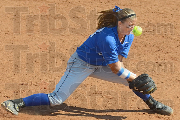 Facial: Indiana State's #10, shortstop Megan Stone has the ball deflect off her glove and hit her in the cheekbone during game action against Drake Sunday afternoon a Price Field. She was not injured on the play.