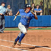 Base runner: Indiana State batter #2, Shelby Wilson runs to first base after making contact during game action against Drake Sunday afternoon at Price Field.