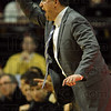 Trying to catch up: Purdue head coach Matt Painter instructs his offense from the sideline during the Boilers' 85-71 loss to Indiana Sunday in Bloomington.