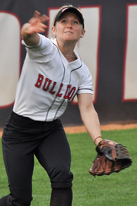 Jane Savage fields in a ball against UNC Greensboro on March 22, 2012.