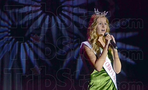 Singing star: Miss Ohio Valley Teen Audrey Ferguson sings during Friday's Cabaret For Cancer fundraiser at Terre Haute South Vigo High School.