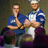 Contemplation: Daniel Pigg (L) and Casey DeGroote enjoy their evening as one of the 100 Men Who Cook participants.