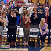 Tribune-Star/Joseph C. Garza<br /> Standing O: Administrators, family and fellow students stand to applaud Terre Haute North student Lea Zebrowski after she was recognized by the Riley Children's Foundation for her efforts in making and donating pillowcases for the hospital.