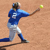 Fingertip control: Indiana State's #2, Shelby Wilson fires a fielded ball to first base for the out during Sunday's action against Drake.