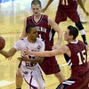 Trying to trap: Rose-Hulman's Jon Gerken, top, and Austin Weatherford try to steal the ball from North Central's CJ Goldthree during the Engineers' Div. 3 game against the Cardinals Friday in St. Louis.
