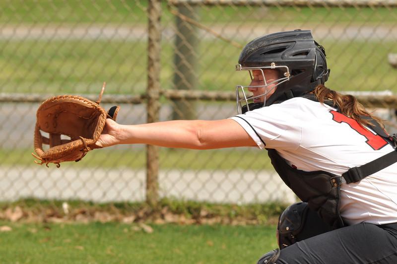 McKenzie Morenus cathes vs UNC Greensboro on March 22, 2012.