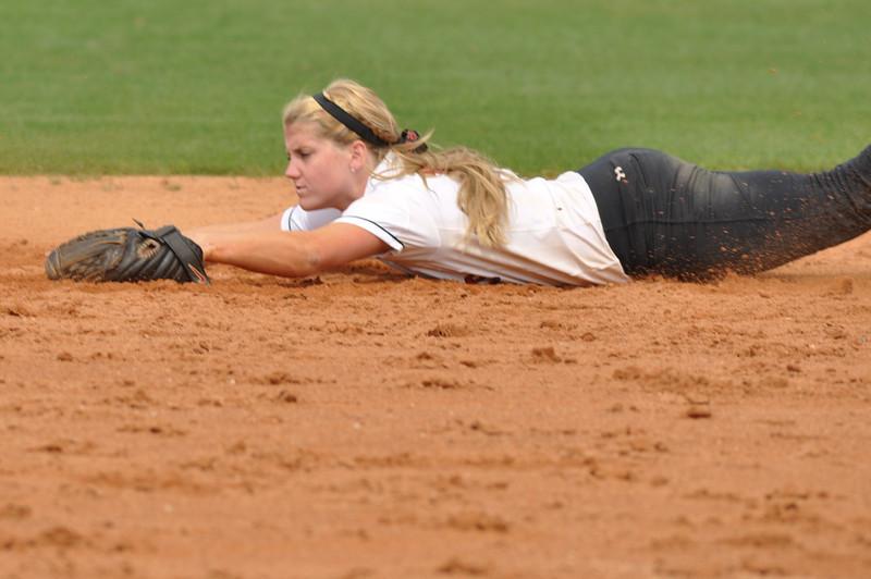 Samantha Meenaghan fields vs UNC Greensboro on March 22, 2012.