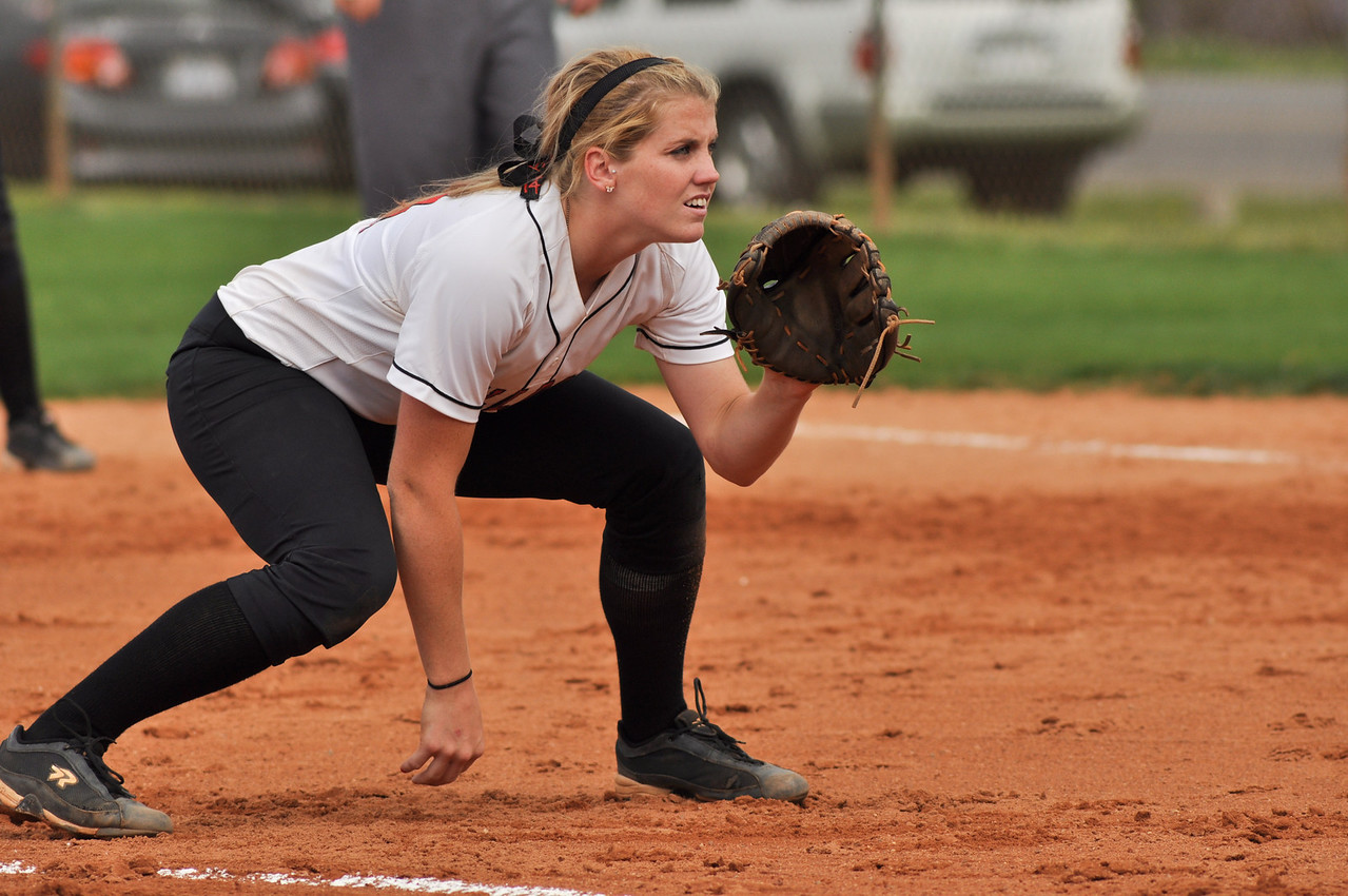 Samantha Meenaghan fields vs UNC Greensboro on March 22, 2012.