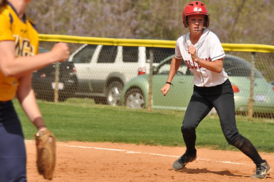 Jordyn Arrowood advancing bases vs UNC Greensboro on March 22, 2012.