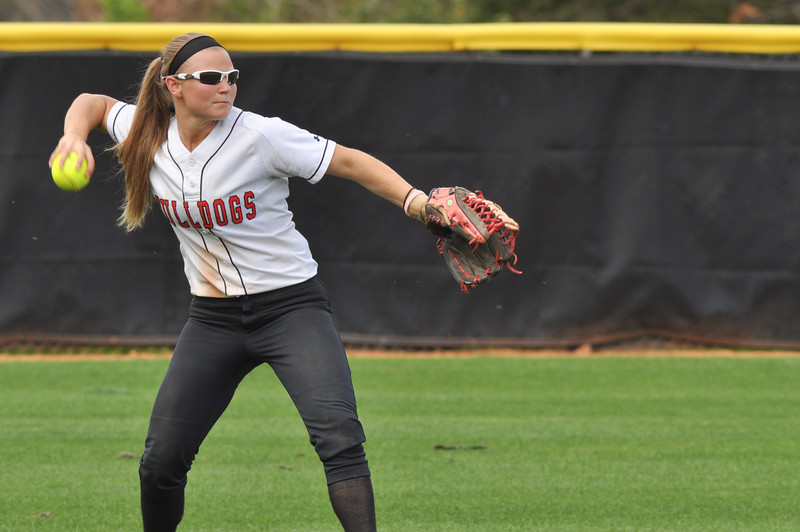 Melinda Dulkowski throws in vs UNC Greensboro on March 22, 2012.