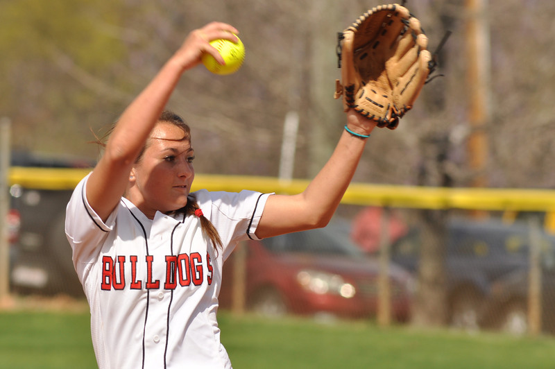 Kellie Beres pitches vs UNC Greensboro on March 22, 2012.