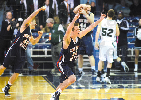 No. 1 when you take down No. 2: Terre Haute North's Austin Lewis, center, celebrates with teammates Ross Sponsler (40) and Calvin Blank (44) after the Patriots defeated Pendleton Heights in the semifinal of the Class 4A regional Saturday at Hinkle Fieldhouse in Indianapolis.