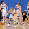 Theft: Clay City's #32, Jake Tiefel steals the ball from Hauser guard #20, Adam Miller during second half action at the Martinsvillle Regiional Saturday.