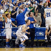 Tribune-Star/Joseph C. Garza<br /> Makes you want to jump: The Rockville bench comes its feet after a Loogootee turnover in the fourth quarter of the Rox' Class A state championship game Saturday in Indianapolis.