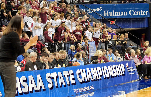 The Terre Haute experiene: Ft. Wayne Concordia fans fill the seats in Hulman Center during Saturday's AAA Championship game.