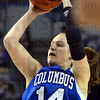 Tribune-Star/Jim Avelis<br /> Fab frosh: Columbus North freshman guard Ali Patberg shoots from long range early in the Bulldog's 4A state championship game with North Central.