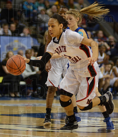 Tribune-Star/Jim Avelis<br /> Panther on the loose: North Central's Rachel Gregory runs the floor on a fast break against Columbus North in their 4A state championship game Saturday night in Hulman Center.