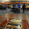 Tribune-Star/Jim Avelis<br /> Going for glory: The winner's plaque waits its team at the start of the annual Kiwanis Geography Bowl. About 100 family friends and faculty were on hand at Sarah Scott Middle School for the event.