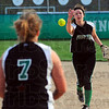 Tribune-Star/Jim Avelis<br /> Under easy: West Vigo secondbaseman Ciara McClain makes an underhand toss to Taylor Otte for an out at first base.