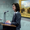 Tribune-Star/Joseph C. Garza<br /> 70 years of celebrating art: Marianne Richter, executive director of the Swope Art Museum, addresses the audience gathered at the museum to commemorate its 70th anniversary Wednesday.