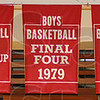 Tribune-Star/Jim Avelis<br /> Historical markers: Five banners hang from the rafters of the Terre Haute South High School gym remembering the times the boy's team has made it to the state finals, both under the class system and before the four divisions were created.  The rafters also hold the lone state championship banner from the girl's win in 2001.