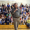 Tribune-Star/Jim Avelis<br /> Need to read: One of the main points writer Sean McDevitt made in his presentation to Honey Creek Middle School students was the need to read, a lot, if they wanted to become good writers.