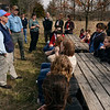 Tribune-Star/Joseph C. Garza<br /> Advocate for the outdoors: Gov. Mitch Daniels discusses the Healthy Rivers Initiative with students from Turkey Run Elementary and High School Wednesday in Parke County.