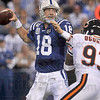 Back in the saddle again: Indianapolis Colts quarterback Peyton Manning spots an open receiver during the Colts' game against the Bears Sunday in Indianapolis.