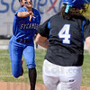 Tribune-Star/Joseph C. Garza<br /> Out at second: Indiana State's Alyssa Heller throws out St. Louis' Kelsey Biggs at second base during the Sycamores' 1-0 victory Tuesday at Price Field.