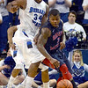 Tribune-Star/Jim Avelis<br /> Tight defense: Indiana State center Myles Walker pressures Robert Morris guard Velton Jones in second half action of the Sycamores loss.