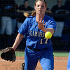 Tribune-Star/Joseph C. Garza<br /> A simple toss will do it: Indiana State's Lindsey Beisser tosses out St. Louis batter Katie Kroeger during the first game of the Sycamores' double-header against the Billikens Tuesday at Price Field.