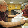 Tribune-Star/Jim Avelis<br /> On file: Moose lodge leaders Ed Akers and Donald Brown discuss the history of the organization in Terre Haute with Tribune-Star reporter Lisa Trigg Tuesday afternoon.