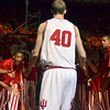 Tribune-Star/Joseph C. Garza<br /> Starter: Indiana's Cody Zeller rises to his feet after his name was announced before the start of the Hoosiers' game against Purdue Sunday, March 4 in Bloomington.