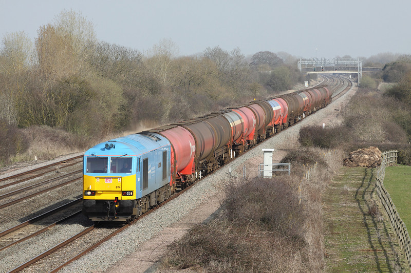 22 March 2012 :: 60074 'Teenage Spirit' woking 6B33 Theale to Robeston in Challow loop at Denchworth