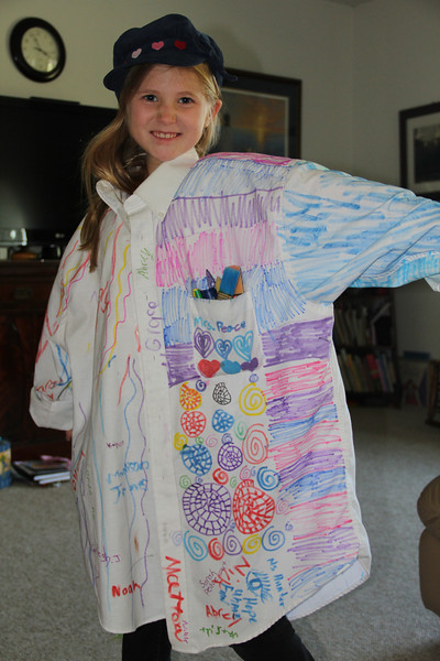 Jenna's art smock for her career day
