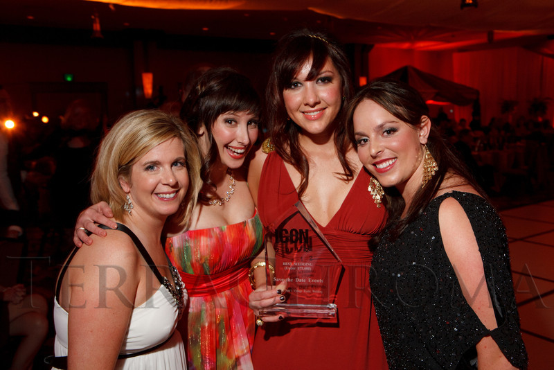 With Save the Date Events:  Debbie Orwat, Amber Fairbanks, Gabby Cavali, and Brynn Swanson.  The ICON Awards Gala 2012, presented by Colorado Expression and Confetti magazines, at Grand Hyatt Denver near Denver, Colorado, on Friday, March 9, 2012.<br /> Photo Steve Peterson