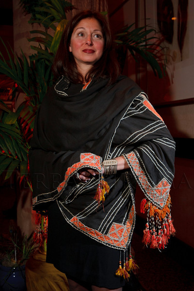 Mona Adams wears a Bedouin scarf bought at a souk in Saudi Arabia.  The ICON Awards Gala 2012, presented by Colorado Expression and Confetti magazines, at Grand Hyatt Denver near Denver, Colorado, on Friday, March 9, 2012.<br /> Photo Steve Peterson