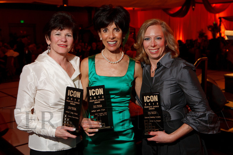 Leslie Heins (cq) and Lisa Cook, owners of Affair With Flair, and C.C. Dick, with Colorado Wedding Company.  The ICON Awards Gala 2012, presented by Colorado Expression and Confetti magazines, at Grand Hyatt Denver near Denver, Colorado, on Friday, March 9, 2012.<br /> Photo Steve Peterson